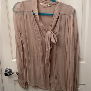 Tan Blouse with tie at neck